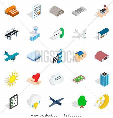 Flight icons set. Isometric set of 25 flight vector icons for web isolated on white background