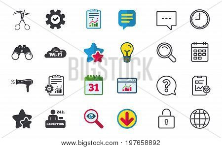 Hotel services icons. Wi-fi, Hairdryer in room signs. Wireless Network. Hairdresser or barbershop symbol. Reception registration table. Chat, Report and Calendar signs. Vector
