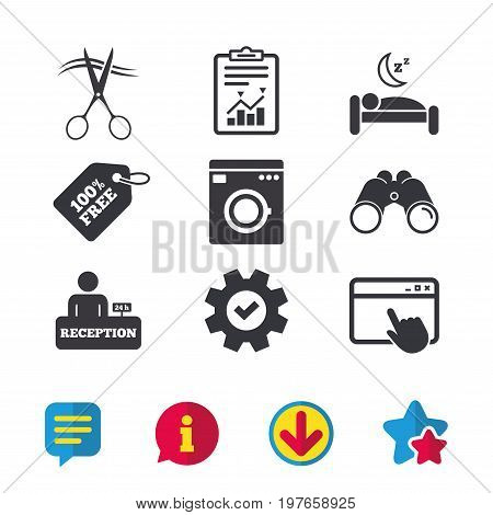 Hotel services icons. Washing machine or laundry sign. Hairdresser or barbershop symbol. Reception registration table. Quiet sleep. Browser window, Report and Service signs. Vector