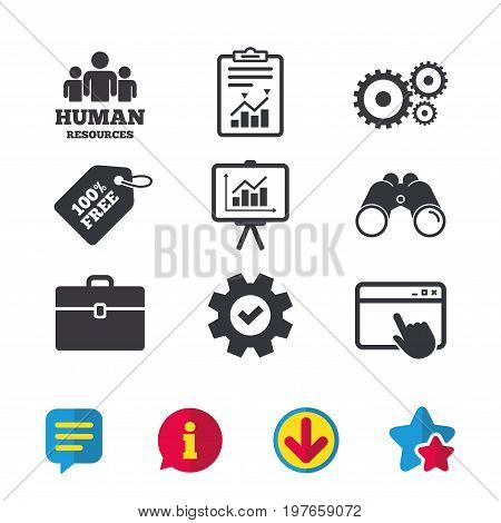 Human resources and Business icons. Presentation board with charts signs. Case and gear symbols. Browser window, Report and Service signs. Binoculars, Information and Download icons. Stars and Chat