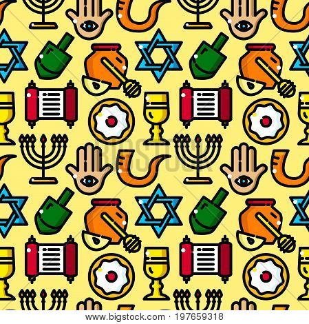 Judaism seamless pattern with objects in line style, Hanukkah vector illustration