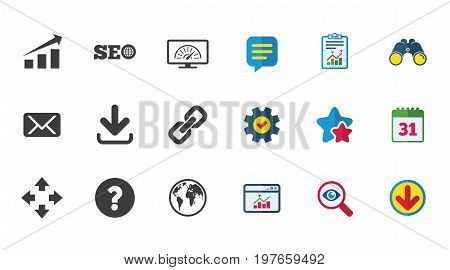 Internet, seo icons. Bandwidth speed, download arrow and mail signs. Hyperlink, monitoring symbols. Calendar, Report and Download signs. Stars, Service and Search icons. Vector