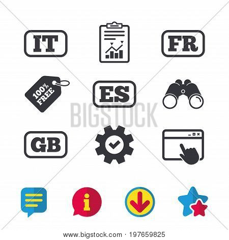 Language icons. IT, ES, FR and GB translation symbols. Italy, Spain, France and England languages. Browser window, Report and Service signs. Binoculars, Information and Download icons. Stars and Chat