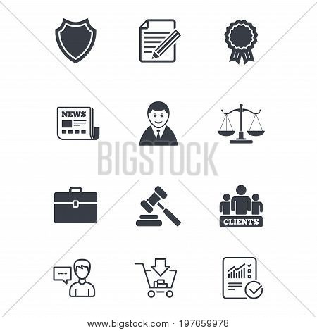Lawyer, scales of justice icons. Clients, auction hammer and law judge symbols. Newspaper, award and agreement document signs. Customer service, Shopping cart and Report line signs. Vector