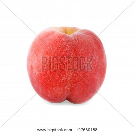 A fresh, juicy and whole peach, isolated on a white background. Free space for text. Ripe peach. Summer fruits. Close-up on a single and perfect round fruit of peach. A big nectarine full of vitamins.