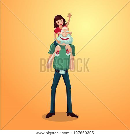 Active senior cartoon character. Strong grandfather with granddaughter on shoulders. Healthy lifestyle.