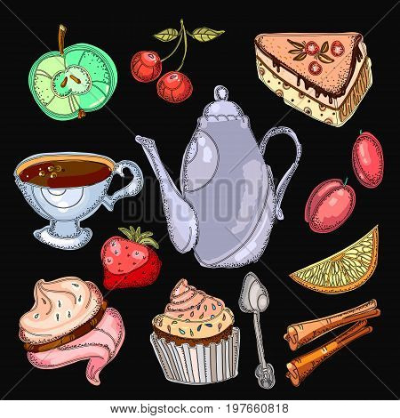 Tea drinking collection. Tea party elements tea pot sweets cakes bakery. Hand drawn vector illustration