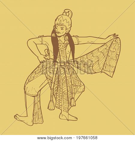 Line art illustration of Indonesian traditional dance from Java