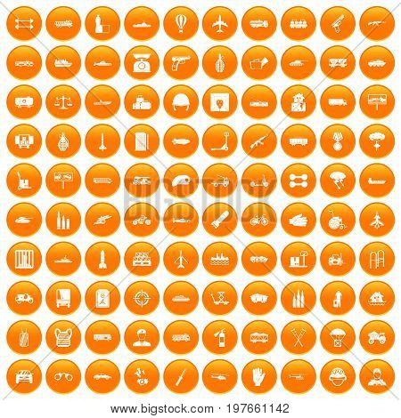 100 burden icons set in orange circle isolated vector illustration
