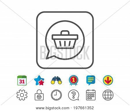 Dreaming of Gift line icon. Present box sign. Birthday Shopping symbol. Package in Gift Wrap. Calendar, Globe and Chat line signs. Binoculars, Award and Download icons. Editable stroke. Vector