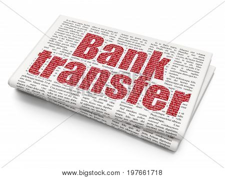 Banking concept: Pixelated red text Bank Transfer on Newspaper background, 3D rendering