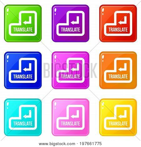 Translate button icons of 9 color set isolated vector illustration