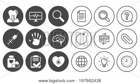 Medicine, medical health and diagnosis icons. Blood, syringe injection and neurology signs. Tooth implant, magnifier symbols. Document, Globe and Clock line signs. Lamp, Magnifier and Paper clip icons