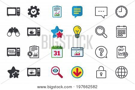Microwave oven icons. Cook in electric stove symbols. Grill chicken and fish signs. Chat, Report and Calendar signs. Stars, Statistics and Download icons. Question, Clock and Globe. Vector