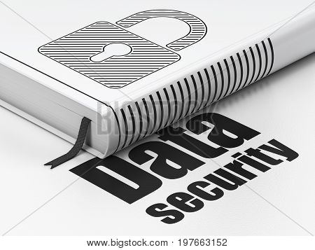 Safety concept: closed book with Black Closed Padlock icon and text Data Security on floor, white background, 3D rendering