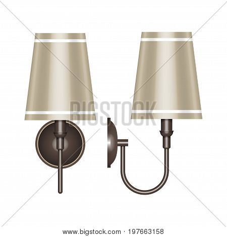 Vector illustration of a wall lamp with a beige lampshade. Front and side views