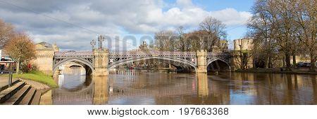 Skeldergate Bridge York England with River Ouse panoramic view