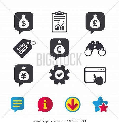 Money bag icons. Dollar, Euro, Pound and Yen speech bubbles symbols. USD, EUR, GBP and JPY currency signs. Browser window, Report and Service signs. Binoculars, Information and Download icons. Vector