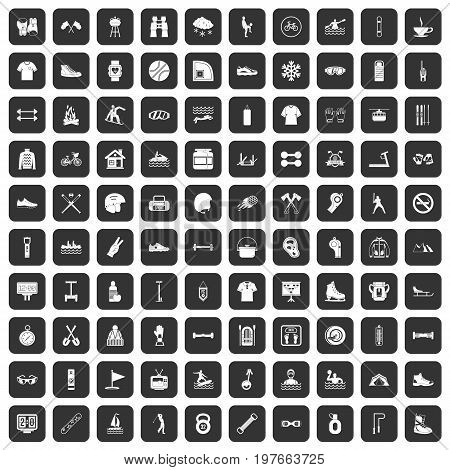 100 sport life icons set in black color isolated vector illustration