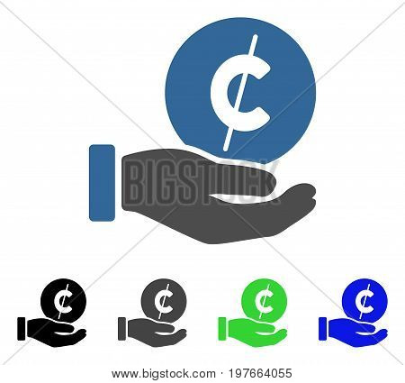 Cent Payment Hand flat vector icon. Colored cent payment hand gray, black, blue, green pictogram variants. Flat icon style for web design.