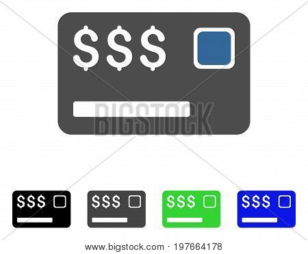 Credit Card flat vector icon. Colored credit card gray, black, blue, green pictogram variants. Flat icon style for graphic design.