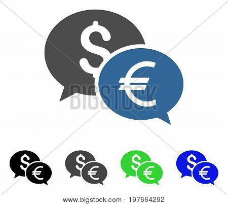 Currency Transfer Chat flat vector pictograph. Colored currency transfer chat gray, black, blue, green pictogram variants. Flat icon style for application design.