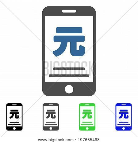 Yuan Mobile Payment flat vector pictograph. Colored yuan mobile payment gray, black, blue, green pictogram versions. Flat icon style for web design.