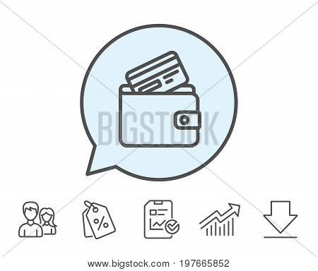 Wallet with Credit card line icon. Cash money sign. Payment method symbol. Report, Sale Coupons and Chart line signs. Download, Group icons. Editable stroke. Vector