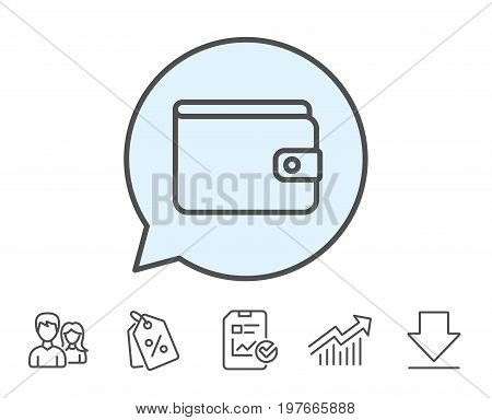Money Wallet line icon. Cash symbol. Payment method sign. Report, Sale Coupons and Chart line signs. Download, Group icons. Editable stroke. Vector