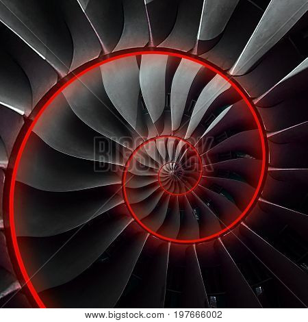 Turbine blades wings spiral red neon glow effect abstract fractal pattern background. Spiral industrial production metallic turbine background. Turbine technology abstract fractal pattern