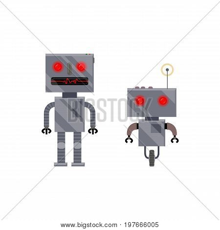 Two vintage, retro style robot characters with wheel and legs, cartoon vector illustration isolated on white background. Retro, vintage metal robot characters, cartoon style illustration