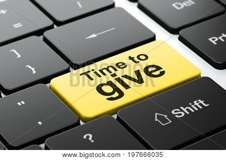 Time concept: computer keyboard with word Time To Give, selected focus on enter button background, 3D rendering