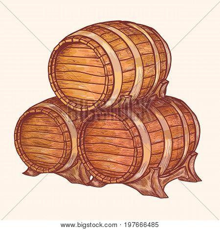 Barrel for storage of wine beer alcohol. Barrel for storage of wine beer alcohol. Hand drawn retro vintage illustration engraved style. Old woods kegs