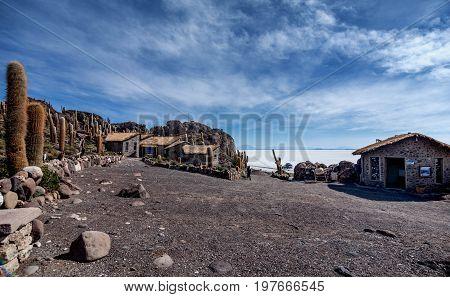 Incahuasi island ( Cactus Island) lokated at Salar de Uyuni the largest salt flat area in Bolivia