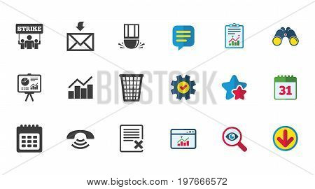 Office, documents and business icons. Call, strike and calendar signs. Mail, presentation and charts symbols. Calendar, Report and Download signs. Stars, Service and Search icons. Vector