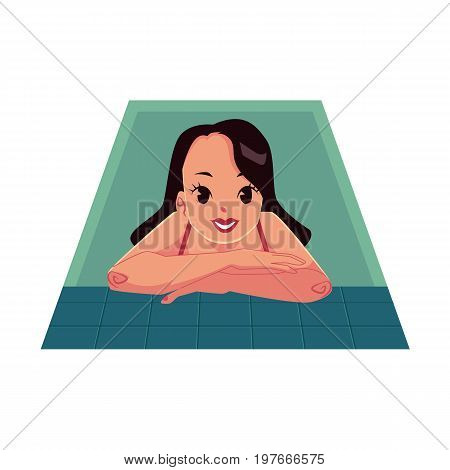 Woman in swimming suit, leaning on swimming pool nosing, cartoon vector illustration on white background. Woman in swimming suit, relaxing in spa, from view half length portrait