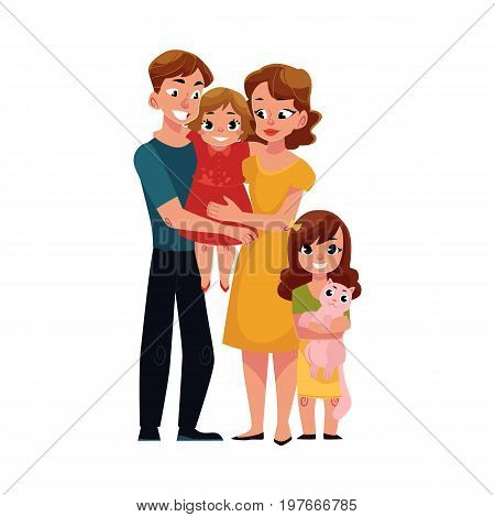 Parents, mom and dad, holding little daughter, loving family, cartoon vector illustration on white background. Full length portrait of little family, mother, father and daughter, hugging each other