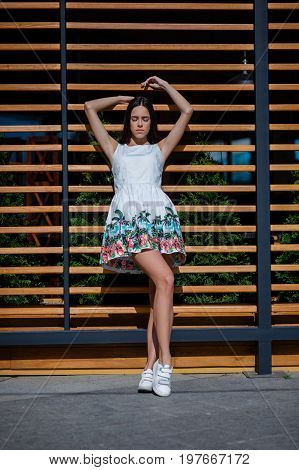 Full-lengths of stunning, beautiful girl. Lady at a dress with summer print. Good-looking brunette. Summer fashion. Dreamy girl posing on a wooden bar wall.