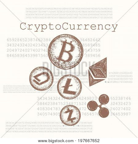 Crypto currency hand drawn concept. Bitcoin Litecoin Etherium Ripple Dash Zcash DigiByte. Blockchain and Cryptocurrency vector