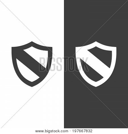 Protection shield icon on black and white background