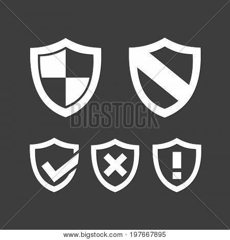 Set of protection shield icons on a dark background
