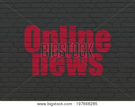 News concept: Painted red text Online News on Black Brick wall background