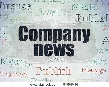 News concept: Painted black text Company News on Digital Data Paper background with   Tag Cloud