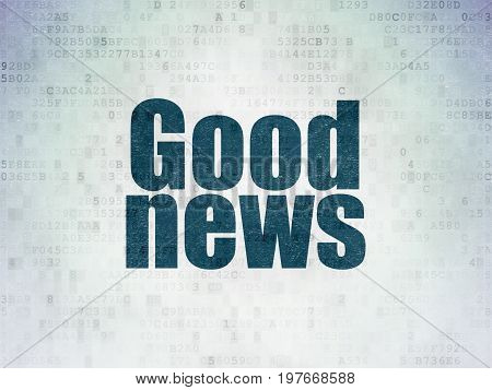 News concept: Painted blue word Good News on Digital Data Paper background