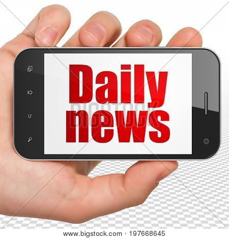 News concept: Hand Holding Smartphone with red text Daily News on display, 3D rendering