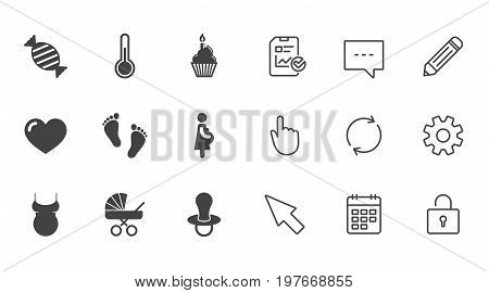 Pregnancy, maternity and baby care icons. Candy, baby carriage and pacifier signs. Footprint, cake and thermometer symbols. Chat, Report and Calendar line signs. Service, Pencil and Locker icons
