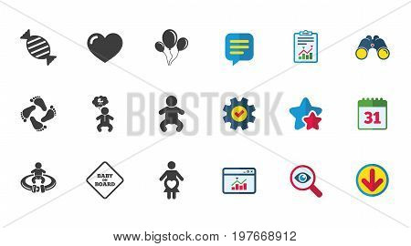 Pregnancy, maternity and baby care icons. Candy, strollers and fasten seat belt signs. Footprint, love and balloon symbols. Calendar, Report and Download signs. Stars, Service and Search icons