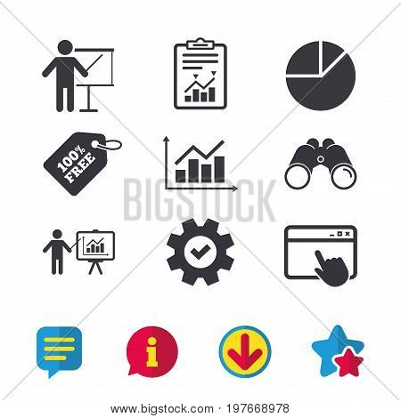 Diagram graph Pie chart icon. Presentation billboard symbol. Supply and demand. Man standing with pointer. Browser window, Report and Service signs. Binoculars, Information and Download icons. Vector
