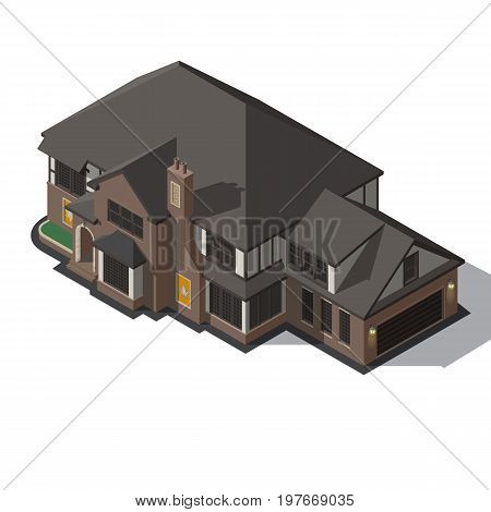 House decorated in style half-timbered framework. isometric old european mansions. Vector rural house. Template of isolated building.
