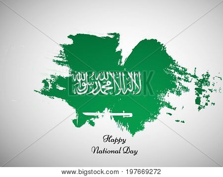 illustration of Saudi Arabia flag backgroiund with Happy National Day text on the occasion of Saudi Arabia National Day